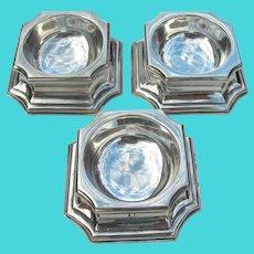 3 Trencher Salts - Britannia silver - Lionel Alfred Crichton