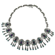 Matl Salas - Sterling Dangle Necklace - Turquoise and Amethyst