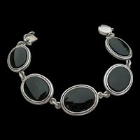N E From - Sterling Silver & Black Onyx - Link Bracelet
