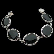 N E From - Sterling Silver & Black Onyx - Link Bracelet
