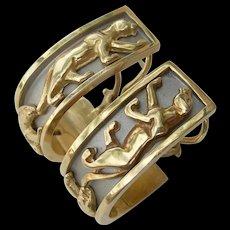 14K Panther Earrings -Two Tone Gold - J Hook Earrings