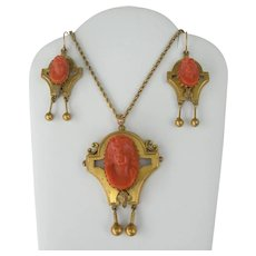 14k Victorian Coral Cameo - Necklace and Earrings