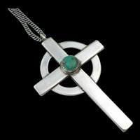 Frank Patania Sr. - Sterling and Turquoise - Large Celtic Cross