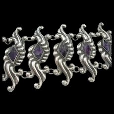 Vintage Taxco Mexican Bracelet - Sterling and Amethyst - Wide