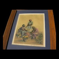 "Elizabeth O'Neill Verner ""Rest While You Wait"" Color Lithograph Print"