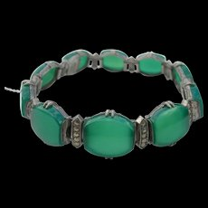Art Deco Wachenheimer - Sterling, Marcasite, Chrysoprase - Bracelet