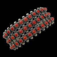 Vintage Zuni - Snake Eye Coral - Sterling Silver - Row Bracelet
