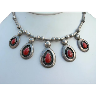 Frank Patania Style - Coral and Sterling - Necklace
