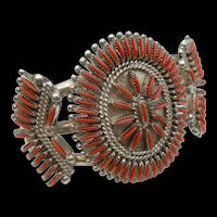 Native American Zuni - Sterling and Coral - Needlepoint Cluster Bracelet