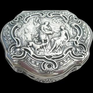 18th Century French - Silver Snuff Box - Hunting Scene