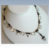 Art Deco Crystal Necklace ~ Sterling Silver ~ Black & Clear