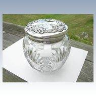 Howard Sterling Co – Crystal and Sterling – Humidor Tobacco Cookie Jar - Huge!
