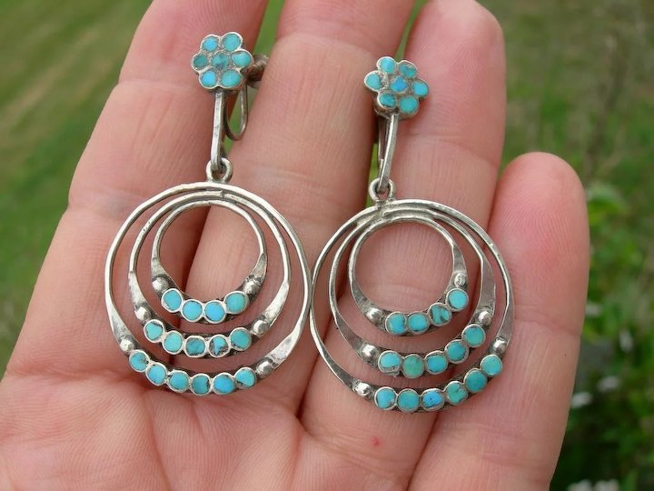 0615fc7b0 Dishta - Sterling Silver and Turquoise - Vintage Zuni - 3 Hoop Earrings