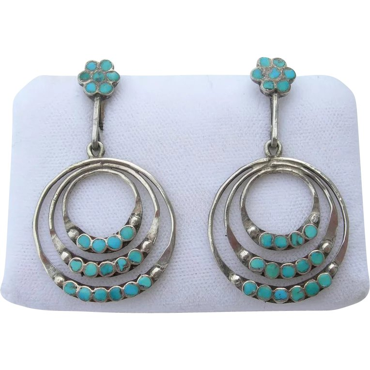 51e9fca3a Dishta - Sterling Silver and Turquoise - Vintage Zuni - 3 Hoop : J & J of  Tucson | Ruby Lane