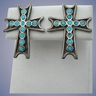 Dishta Style - Vintage Sterling & Turquoise - Cross Motif - Screw Back Earrings