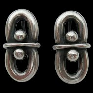 Hans Hansen - Denmark Sterling Silver - Modernist Earrings- Early Marks