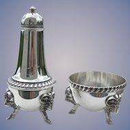 Gorham Sterling Silver - Footed Ram's Head - Open Salt & Pepper Shaker