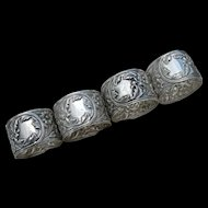 S. Kirk & Son - Sterling Napkin Rings #28 - Set of 4 - No Mono