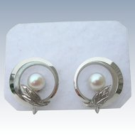 Mikimoto Pearls- Sterling Silver - Screw On Earrings