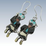 Zuni Inlay - Sterling Turquoise Jet - Apache Dancer Earrings - Vintage