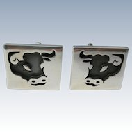 Antonio Pineda - 970 Silver - Bull Motif - Cuff Links - 1960s