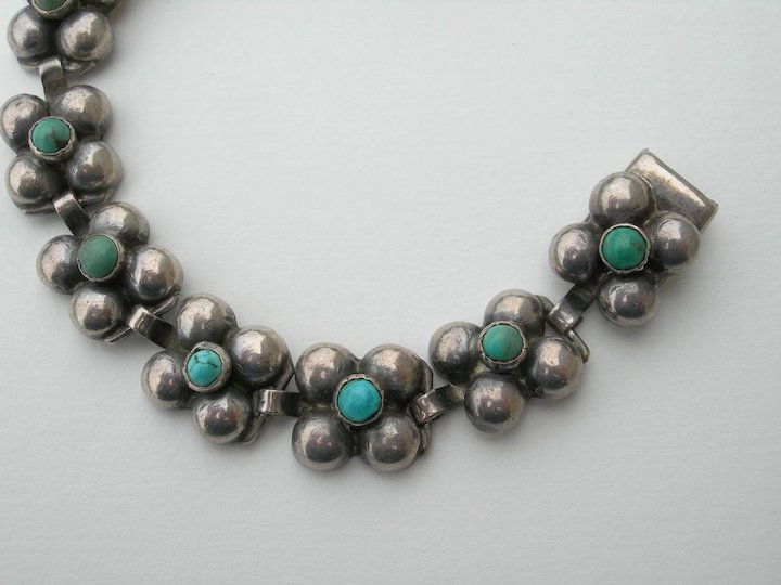 Frederick Davis Mexican Sterling Link Bracelet W/ Small Round Turquoise Stones Mexico Jewelry & Watches