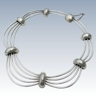 Antonio Pineda -  970 Silver - Modernist Birdcage Cosmos Necklace
