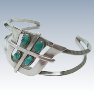 Frank Patania Sr - Sterling Silver and Turquoise - Bracelet - Tohono Symbol