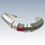 Edison Cummings - Sterling Silver, 14k and Ruby - Bracelet