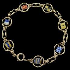 AJ Hedges - 14K Enamel - Signal Flag Bracelet - 1930s