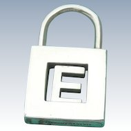 "Tiffany & Co - Sterling Silver - Padlock Charm Pendant - Initial ""E"""