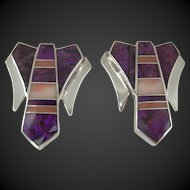 Ray Tracey - Sterling Silver Earrings  - Sugilite and Angel Skin Coral - Clip On