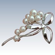 Vintage Mikimoto - Sterling Silver - Foliate Brooch - 9 Pearls
