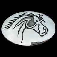 Weaver Selina - Sterling Silver - Hopi Overlay - Belt Buckle - Horse