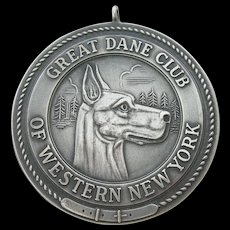 Great Dane Club of Western New York - Large Sterling Silver - Dog Show Medal