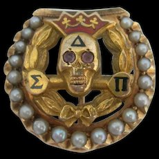 Delta Sigma Pi - 14K and Seed Pearls - Fraternity Skull Pin