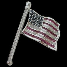 American Flag Pin - 14K Diamonds Rubies Sapphires