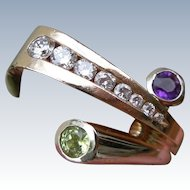 Cornelis Hollander - 14K Ring - Diamonds Amethyst and Peridot