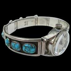 Frank Patania Sr - Sterling Silver & Bisbee Turquoise - Ladies Wristwatch