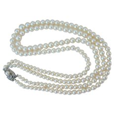 Mikimoto Pearl Necklace - Double Strand - Sterling Clasp