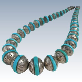Navajo Pearl Beads - Sterling and Inlaid Turquoise - Necklace