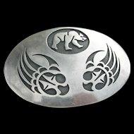 Victor Coochwytewa - Hopi Overlay Sterling - Bear Motif Belt Buckle