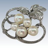 K. Mikimoto Pearls - Pre WWII - Sterling Pin Brooch