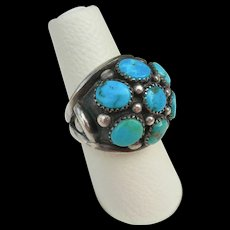 Frank Patania Sr - Sterling & Turquoise - Dome Cluster Ring