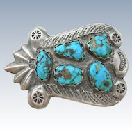 Dan Simplicio Zuni - Heavy Cast Sterling - Turquoise Belt Buckle