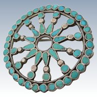 Dishta - Sterling Silver and Turquoise - Vintage Zuni - Circle Pin