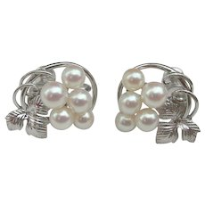 Mikimoto Pearls ~ Sterling Silver ~ Vintage Screw-On Earrings