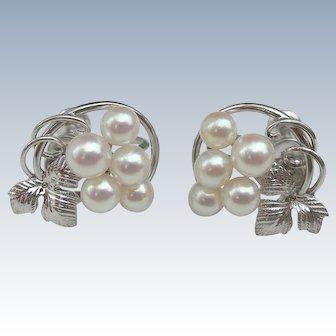 Mikimoto Pearls ~ Sterling Silver ~ Vintage Screw-On Earrings