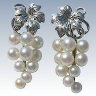 Mikimoto Pearls - Sterling Silver - Dangle Earrings - Original Box