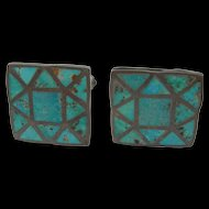Zuni Turquoise Inlay - Sterling Silver - Cufflinks